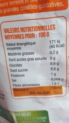 Oranges - Informations nutritionnelles - fr