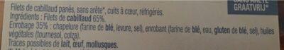 Filets de cabillaud panés - Ingrédients - fr