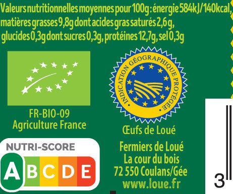 15 x Œufs fermiers de LOUÉ bio - Nutrition facts