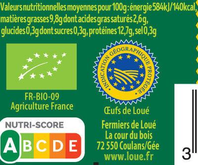 4 x Très Gros  Œufs fermiers de LOUÉ Bio - Nutrition facts