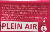 Oeufs Plein Air - Ingredients - fr