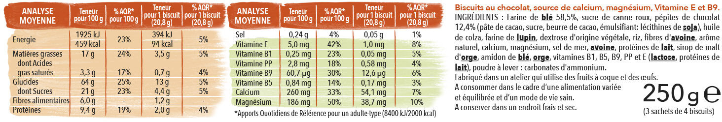 Goûter pépites de chocolat - Nutrition facts - fr