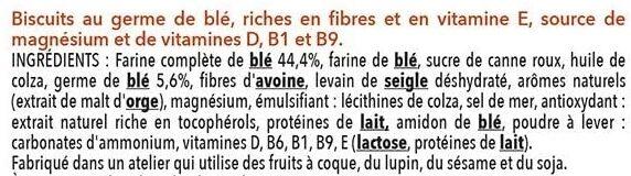 Biscuit complet au germe de blé - Ingrédients - fr