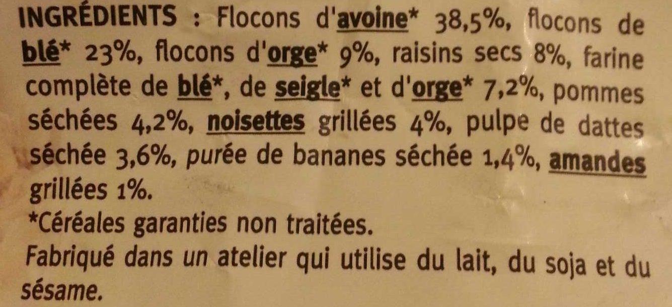 Muesli aux fruits - sans sucres ajoutés - Ingrédients - fr