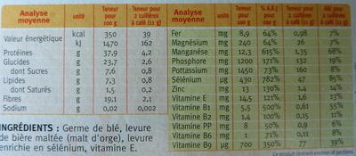Sélégerme - Informations nutritionnelles