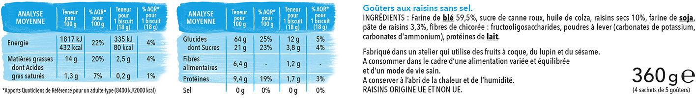 Biscuits Goûter aux raisins - Informations nutritionnelles - fr