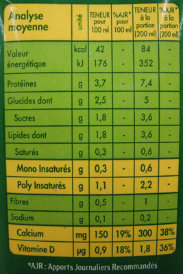 Soja Vanille - Informations nutritionnelles