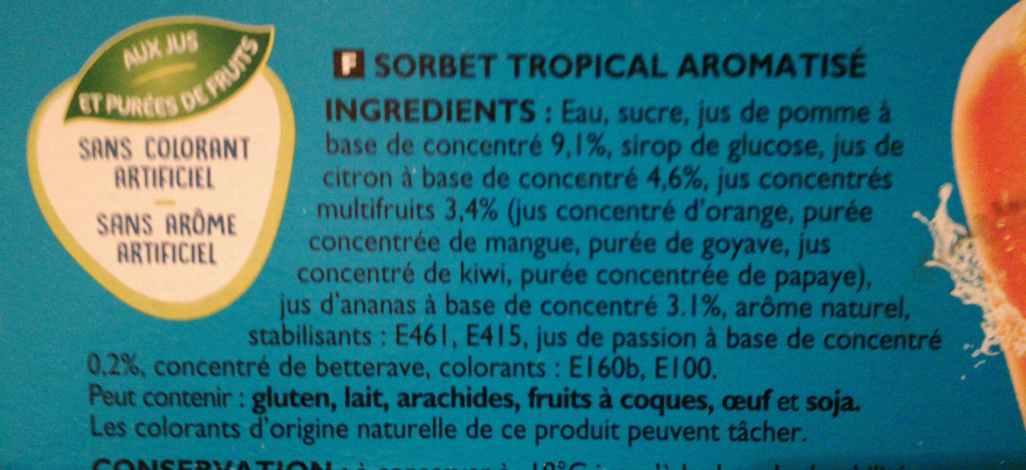 Oasis sorbet Tropical - Ingredienti - fr