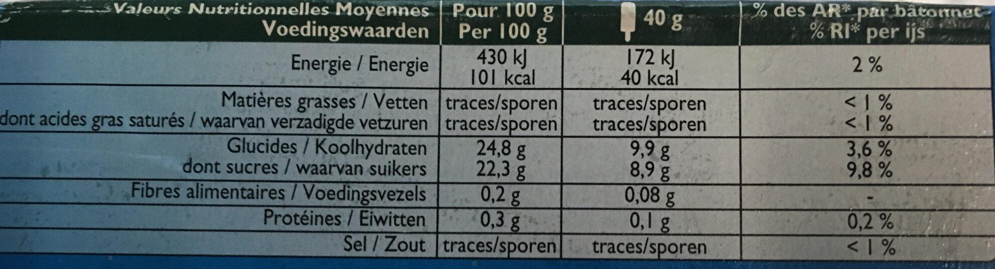 Sorbet Oasis Pêche Pomme Framboise - Nutrition facts - fr