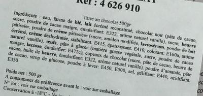 Tarte au chocolat - Ingrédients - fr