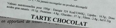 Tarte au chocolat - Informations nutritionnelles - fr