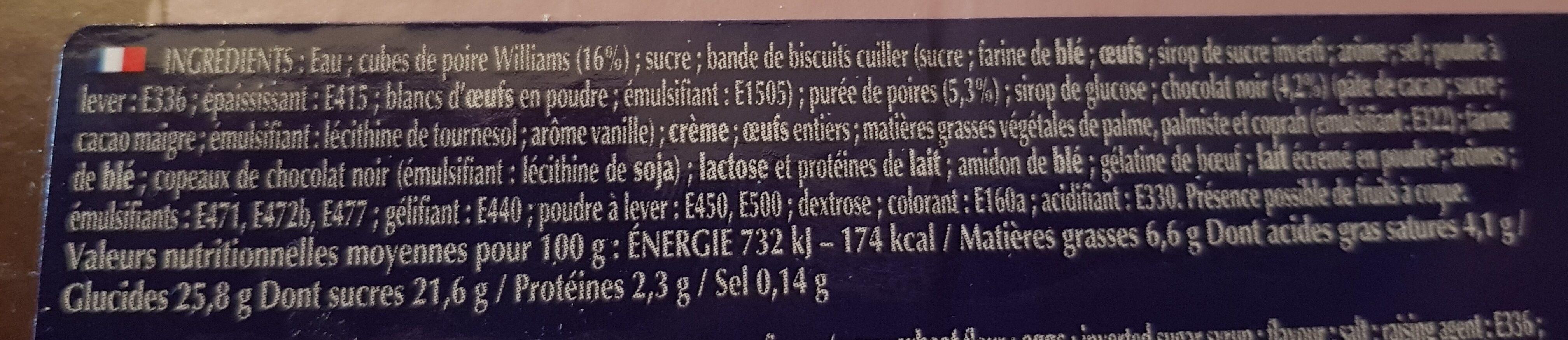 800G Charlotte Poire / Chocolat Boncolac - Ingrédients - fr