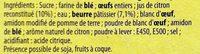 Tarte au Citron Meringuée - Inhaltsstoffe
