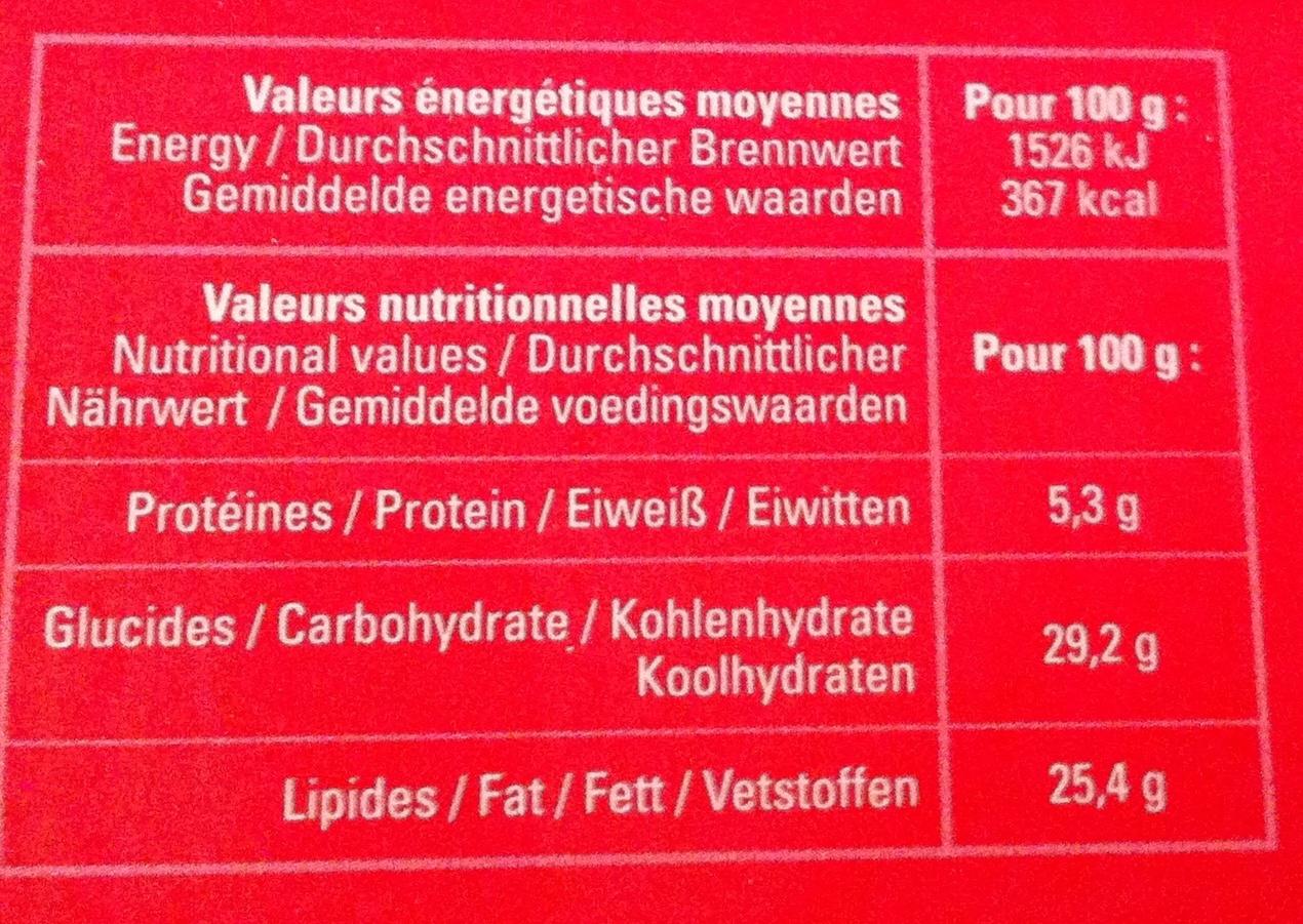 Delice chocolat praliné - Informations nutritionnelles - fr