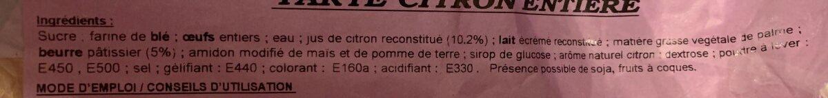 Tarte citron entiere - Ingredients - fr