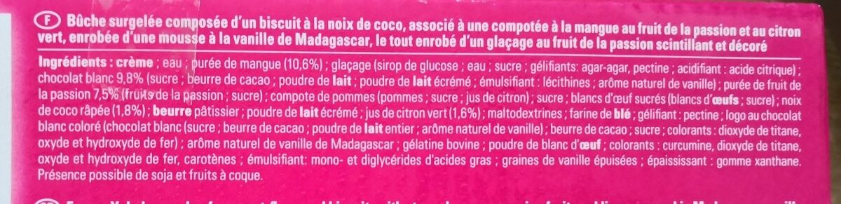 Bûche mangue passion Fauchon - Ingrediënten