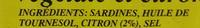 Sardines à l'huile végétale et citron - Ingrediënten