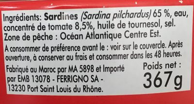 Pilchards à la tomate - Ingredienti - fr