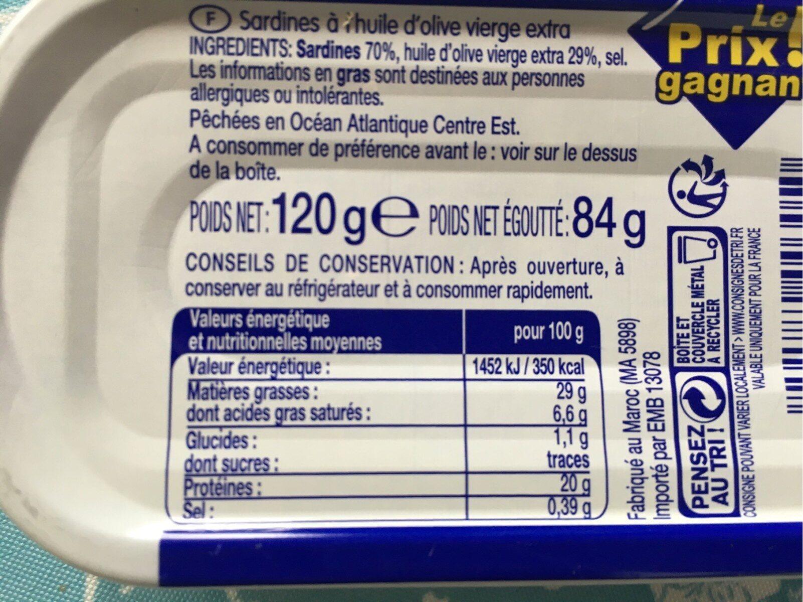 Sardines huile olive - Informations nutritionnelles - fr