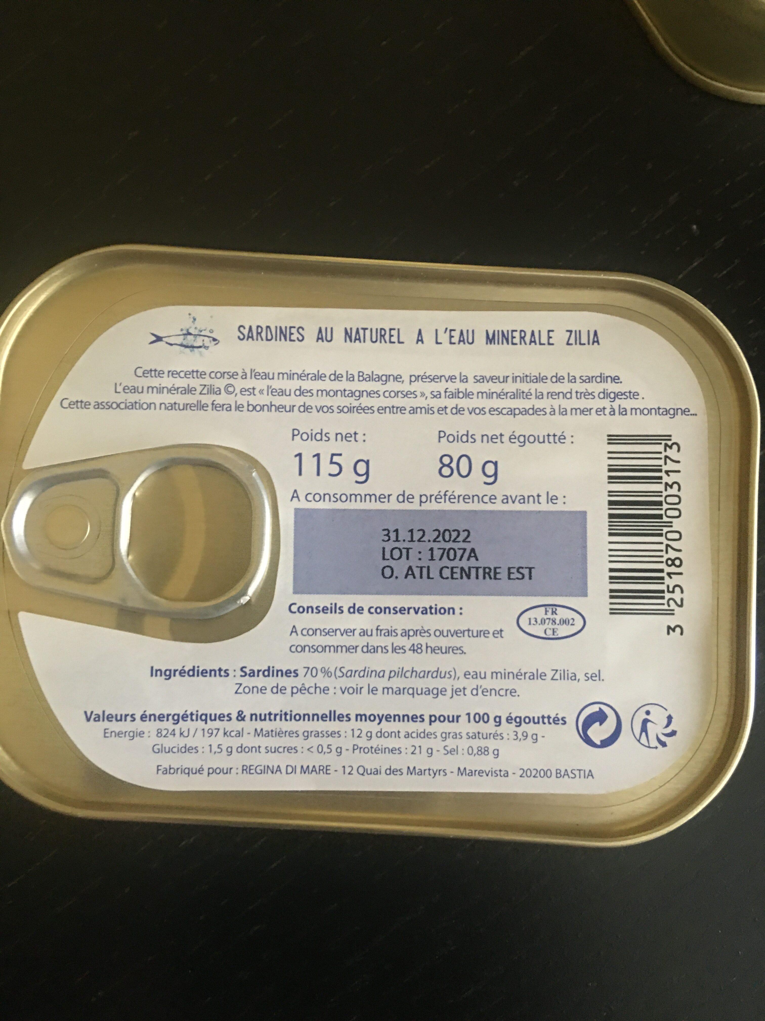 Sardines Au Naturel à l'Eau Minerale Corse Zilia - Nutrition facts - fr