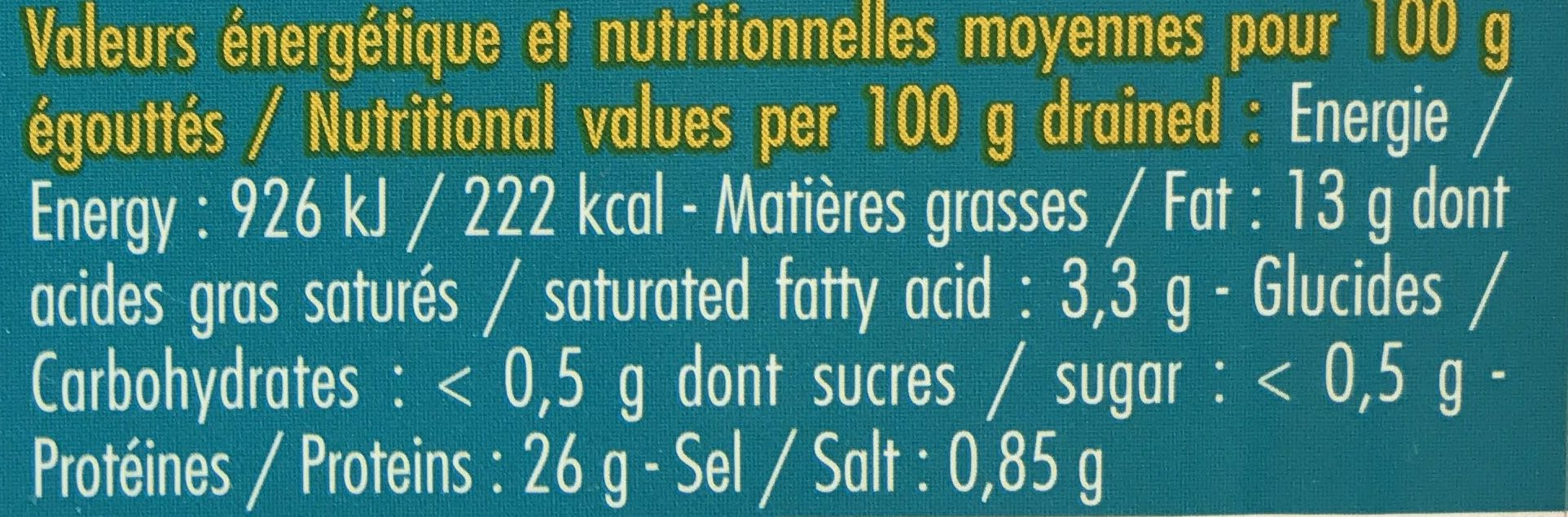 Sardines à l'Huile d'olive et Fleur de Sel - Informations nutritionnelles - fr