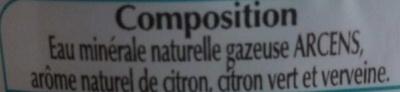 Eau aromatisée gazeuse citron-citron vert-verveine - Ingrédients - fr