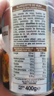 Blanquette de Veau à la Normande Raynal et Roquelaure - Nutrition facts - fr