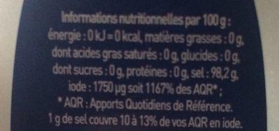 Sel Fin iodé - Informations nutritionnelles