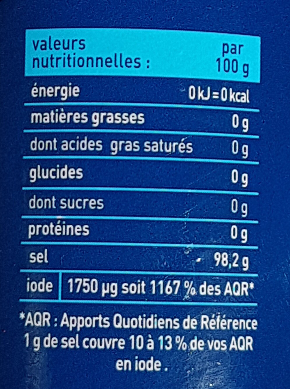 Sel fin iodé - Nutrition facts - fr