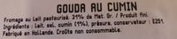 Gouda Cumin (31 % MG) - Ingrédients - fr