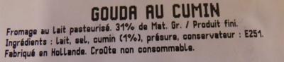 Gouda Cumin (31 % MG) - Ingrediënten