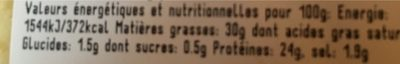 Cantal Jeune AOP - Nutrition facts - fr