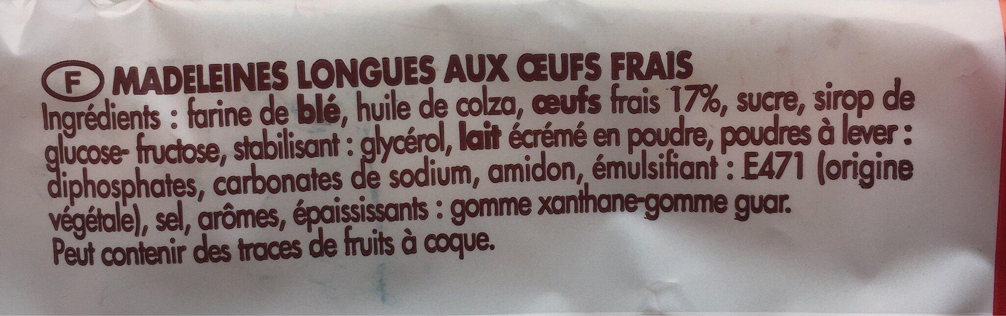 20 madeleines longues aux oeufs frais - Ingrédients