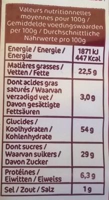 Madeleines marbrées au chocolat - Nutrition facts