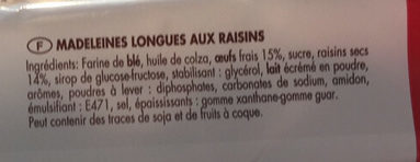 Madeleines longues raisins - Ingrédients - fr