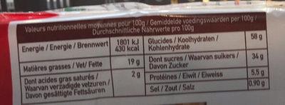 Madeleines longues raisins - Informations nutritionnelles - fr