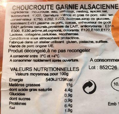 Choucroute garnie alsacienne - Ingrediënten - fr