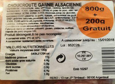 Choucroute garnie alsacienne - Voedingswaarden - fr