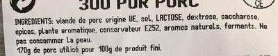 La Rosette Lyonnaise Pur Porc - Ingrédients