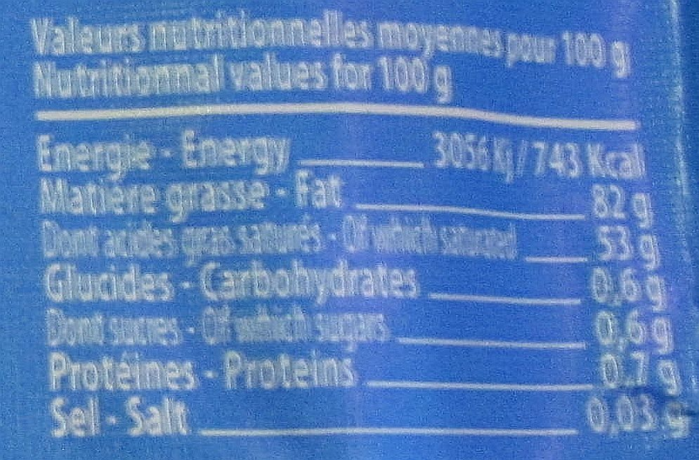 Beurre de Barratte - Informations nutritionnelles - fr