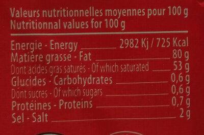 beurre de baratte a l'ancienne - Nutrition facts - fr