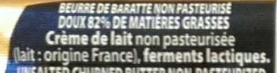 "Beurre de baratte ""Gand Cru"" Doux - Ingrediënten - fr"