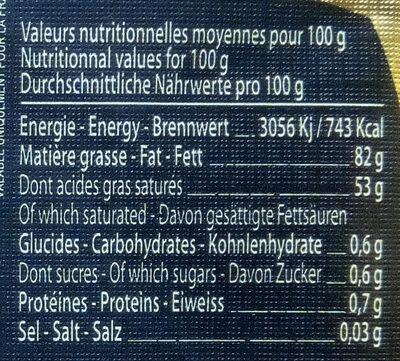 """Beurre de baratte """"Gand Cru"""" Doux - Voedingswaarden - fr"""