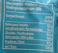 Beurre de Baratte Doux Bio - Nutrition facts