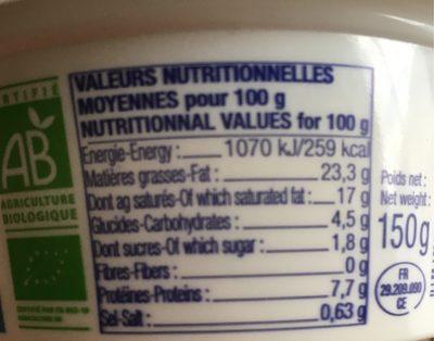 Formage à la crème BIO - Informations nutritionnelles