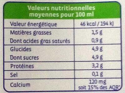 Lait 1/2 écrémé UHT - Valori nutrizionali - fr