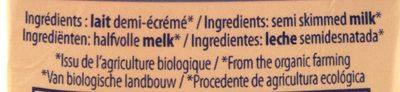 Lait Bio Demi-Écreme - Ingredients