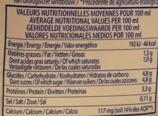 Lait Bio Demi-Écreme - Nutrition facts