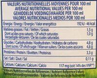 Lait bio demi-écrémé - Nutrition facts - fr
