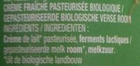 Crème Fraîche Fleurette - Ingrédients